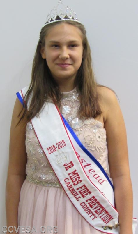 Colline Ruby; Jr. Miss Hampstead; 2018-2019 Jr.Miss Carroll County Fire Prevention.