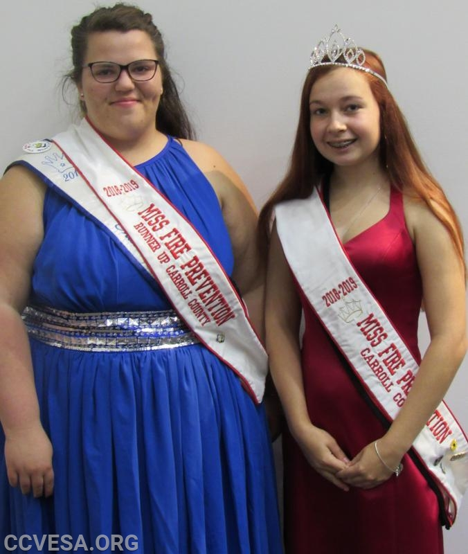 Sarah Norman; Miss New Windsor, Runner up Miss Carroll County Fire Prevention Kerrigan Spenner; Miss Lineboro,  2018-2019 Miss Carroll County Fire Prevention