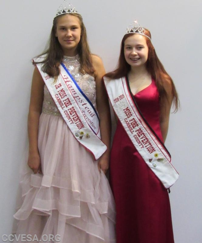 2018-2019 Jr and Miss Carroll County Fire prevention Colline Ruby; Jr. Miss Hampstead and Kerrigan Spenner; Miss Lineboro